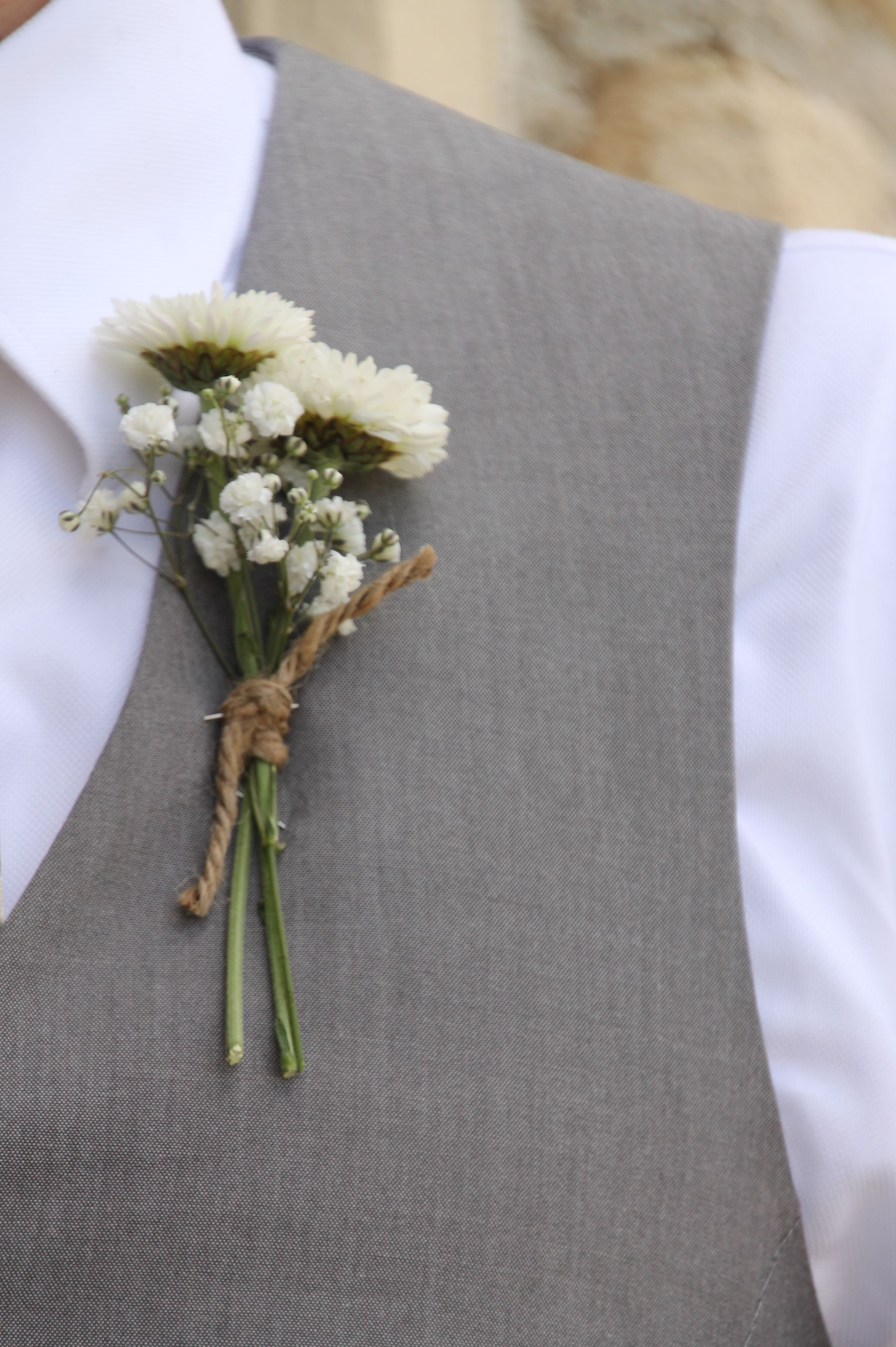 Country farm wedding boutonniere with white button mums. Created by Judith Marie from Lake Country Wisconsin.