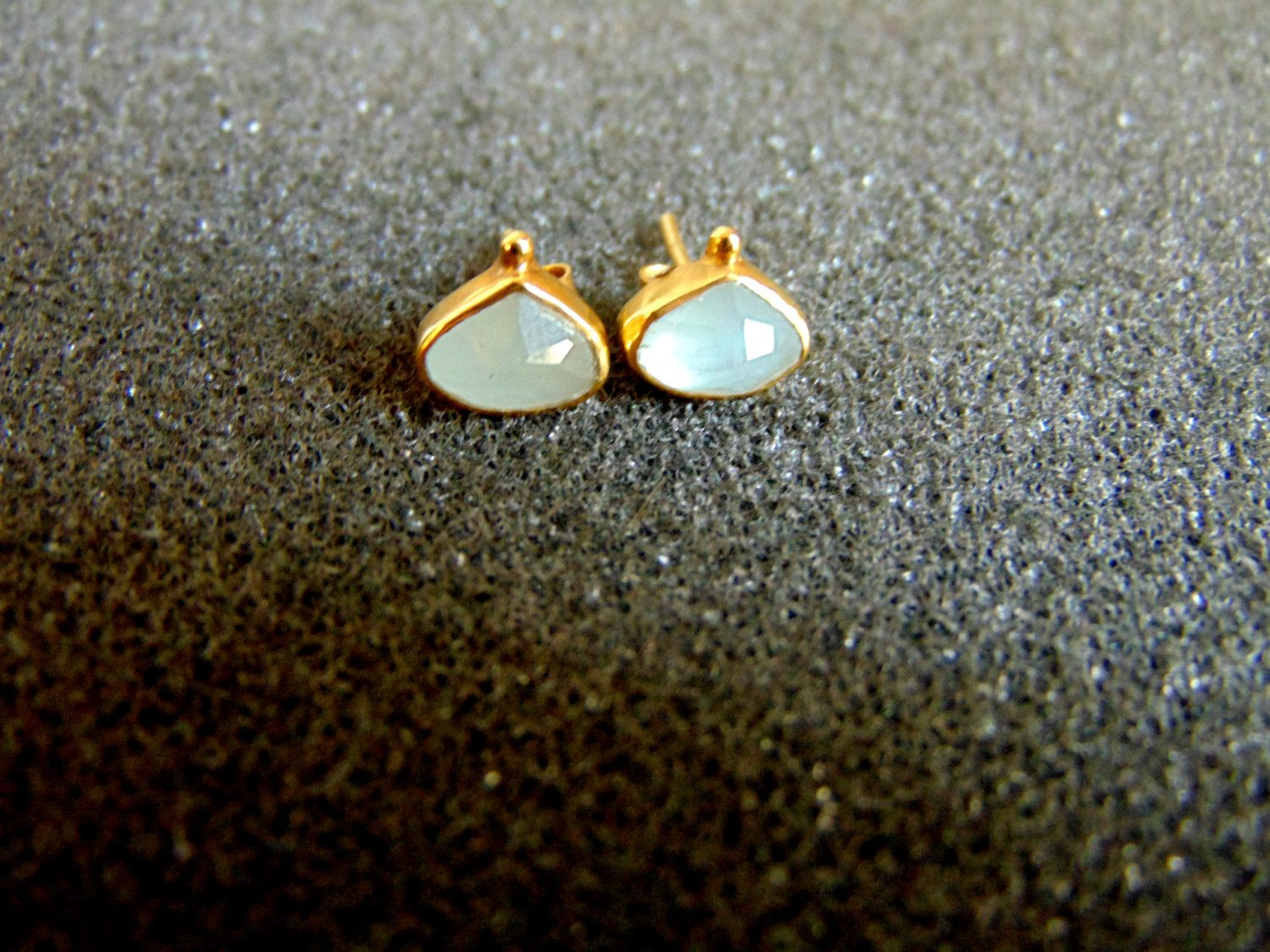 white stud silver women vian lyst s marine aquamarine jewelry metallic gold aqua le earrings diamond octagon