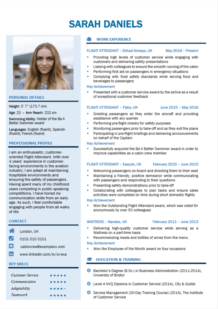 How To Write A Cabin Crew Cv With Cabin Crew And Flight Attendant Cv Examples Cabin Crew Flight Attendant Emirates Cabin Crew