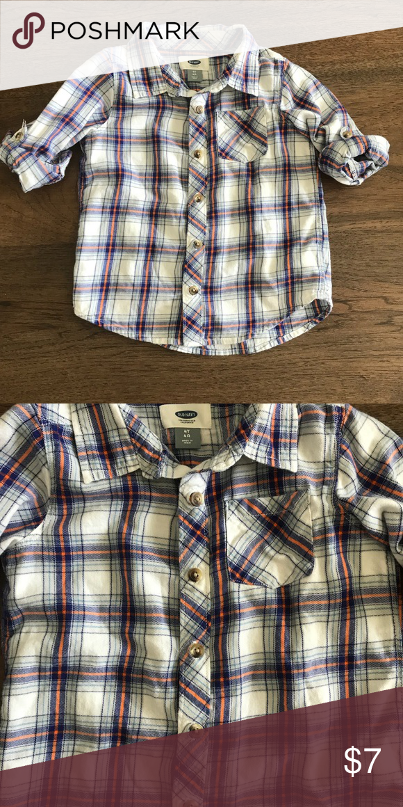 ae3416940 Old Navy toddler boy 4T plaid long sleeve shirt Old navy boys 4T plaid  button down long sleeve shirt. Features rolled cuff holders for a short  sleeve look.