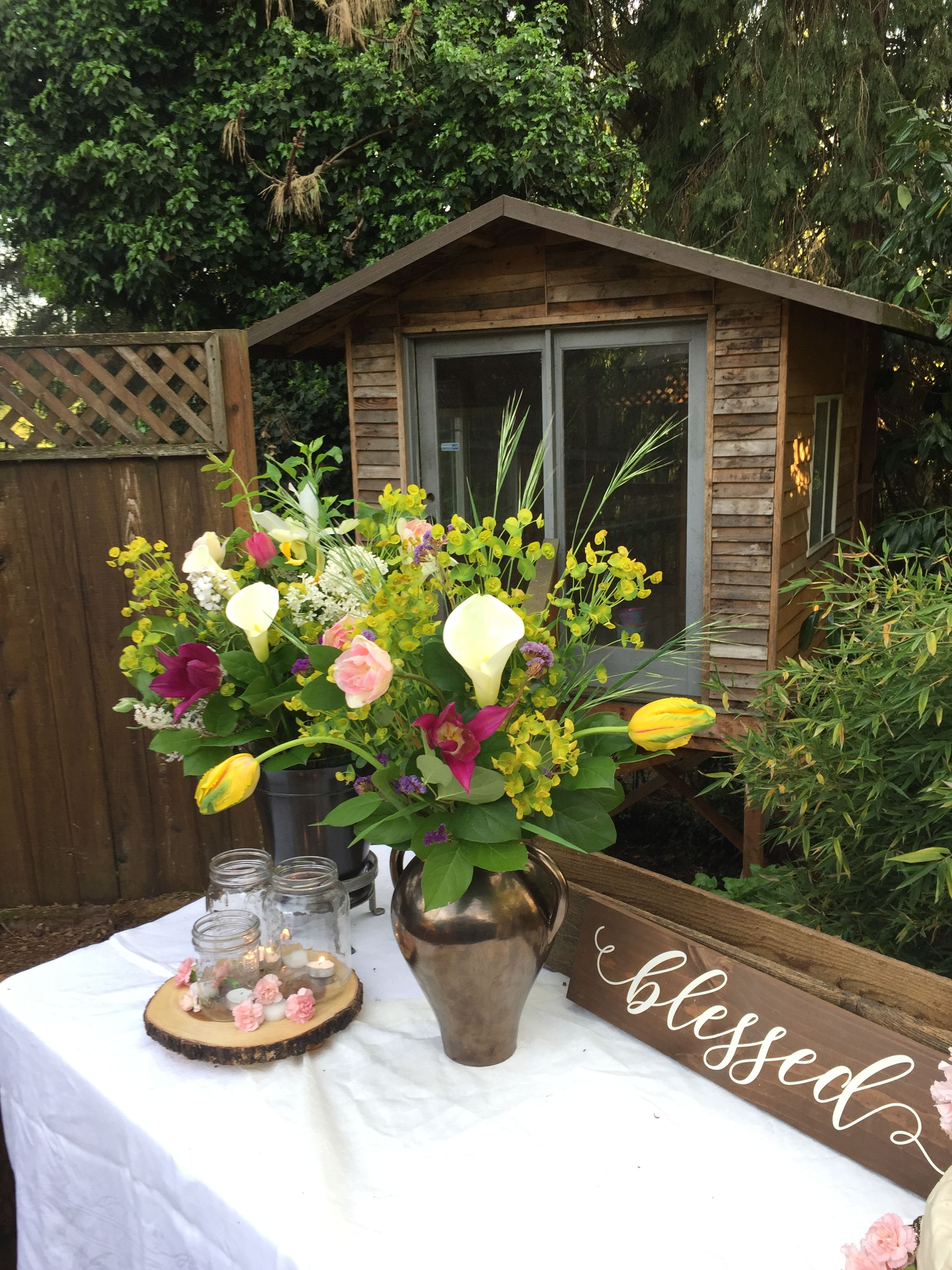 Treehouse Backyard Wedding Blessed Centerpiece Floral Design
