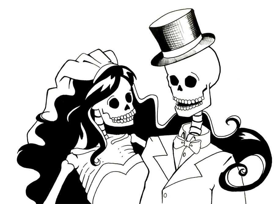 Skeleton Bride And Groom By Sareidia