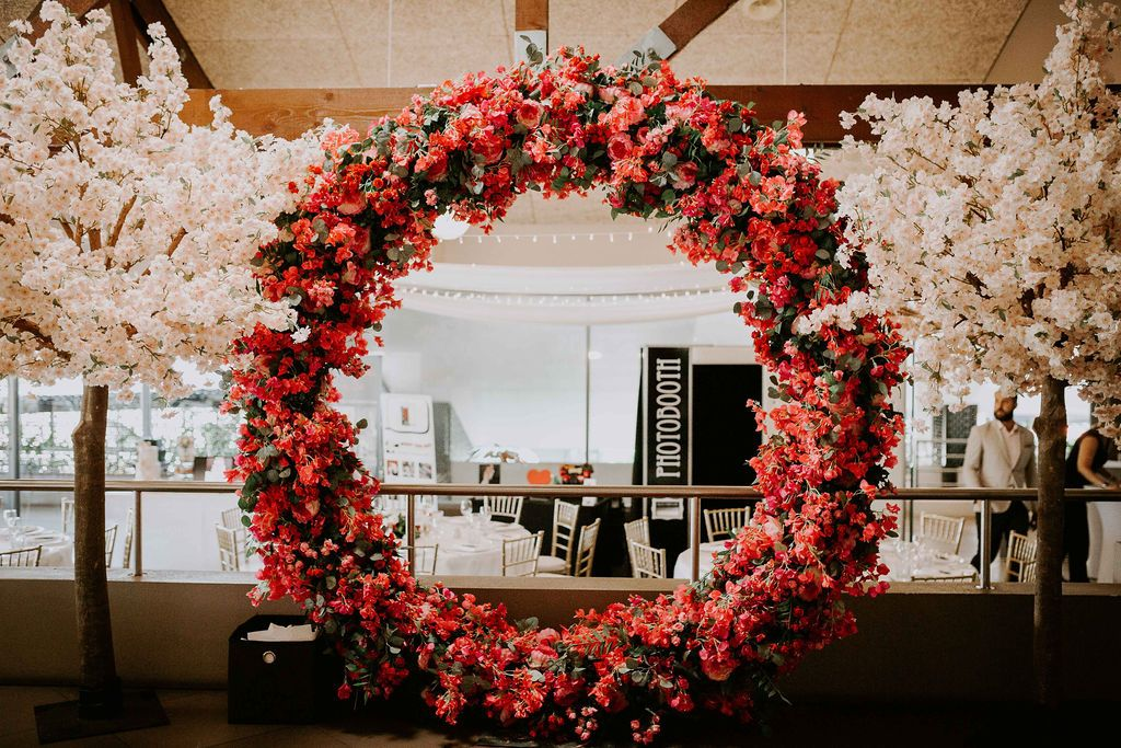 Our Beautiful Arbour And Cherry Blossom Tree Setup For The Parkwoodweddings Showcase Photography E Insta Wedding Cherry Blossom Tree Christmas Wreaths