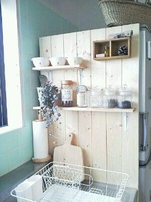 Diy 冷蔵庫横の目隠し インテリア 収納 キッチンカウンター上収納 冷蔵庫 横 収納