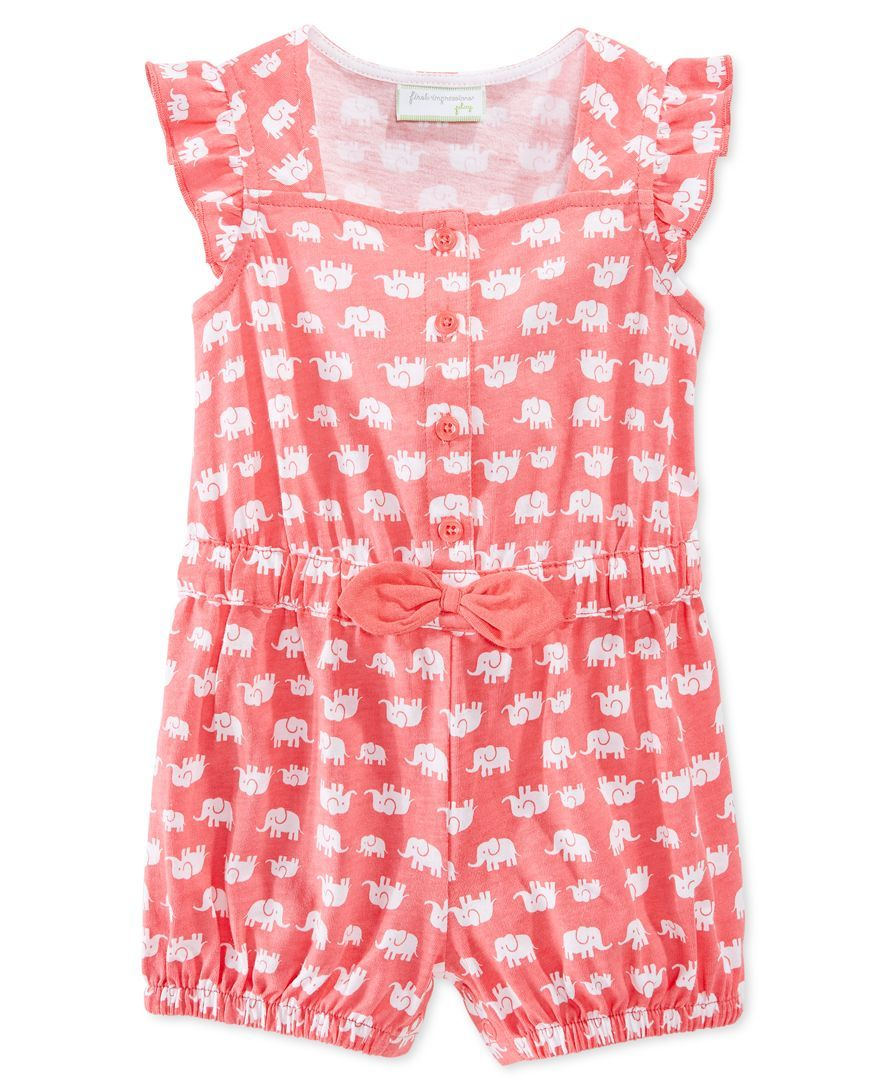 First Impressions Baby Girls' Elephant-Print Romper, Only at Macy's