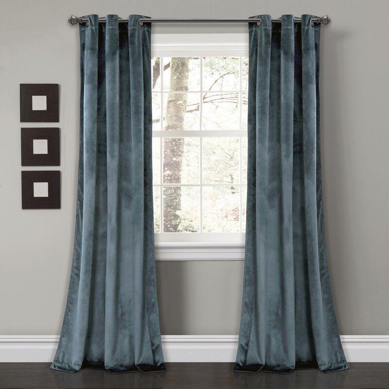 Belknap Solid Room Darkening Grommet Curtain Panels Blue Velvet Curtains Panel Curtains Velvet Curtains