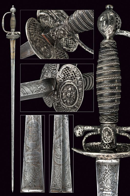 A silver hilted small-sword, provenance: France dating: 18th Century