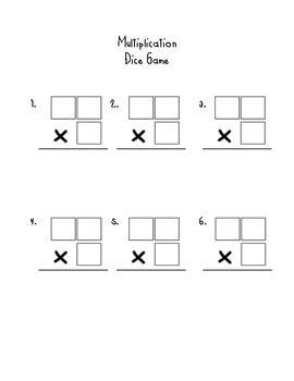 2 digit by 1 digit multiplication dice game math. Black Bedroom Furniture Sets. Home Design Ideas