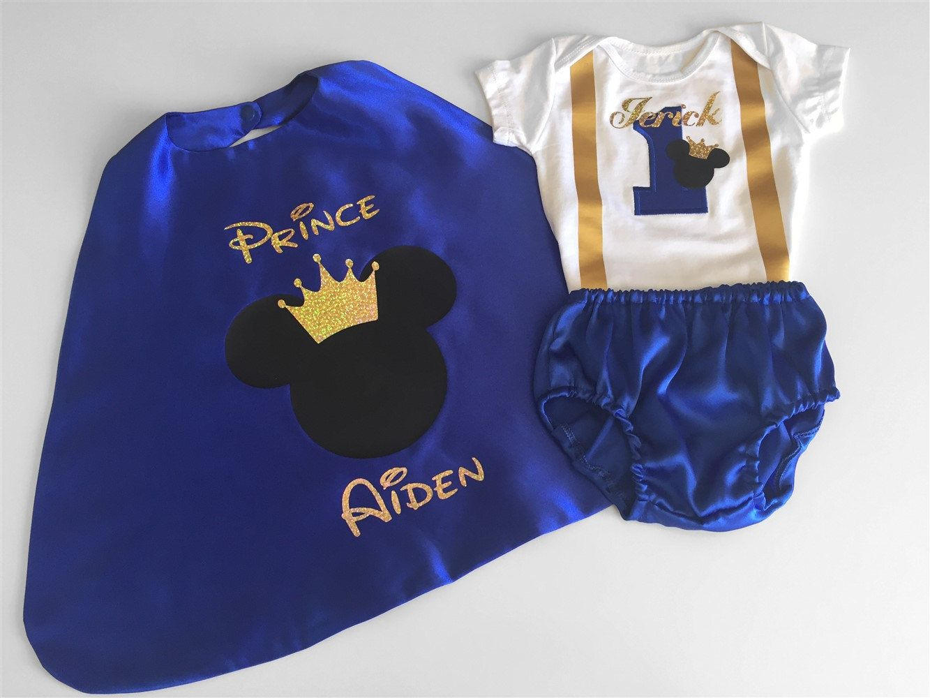 Mickey Prince Personalised Baby Boy 1st Birthday Outfit
