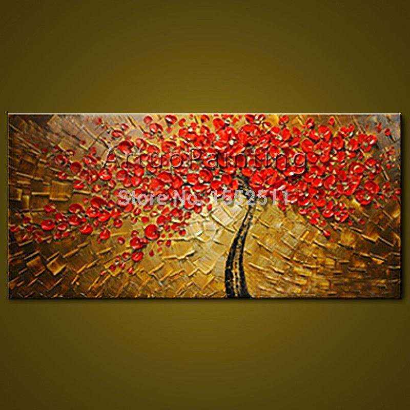 Us 79 0 Canvas Oil Painting Hand Painted Palette Knife 3d Texture Red Flowers Tree Wall Art Pictures For Living Room Wall Decor02 Picture For Living Room Wall Modern Art Abstract Hand Painting Art
