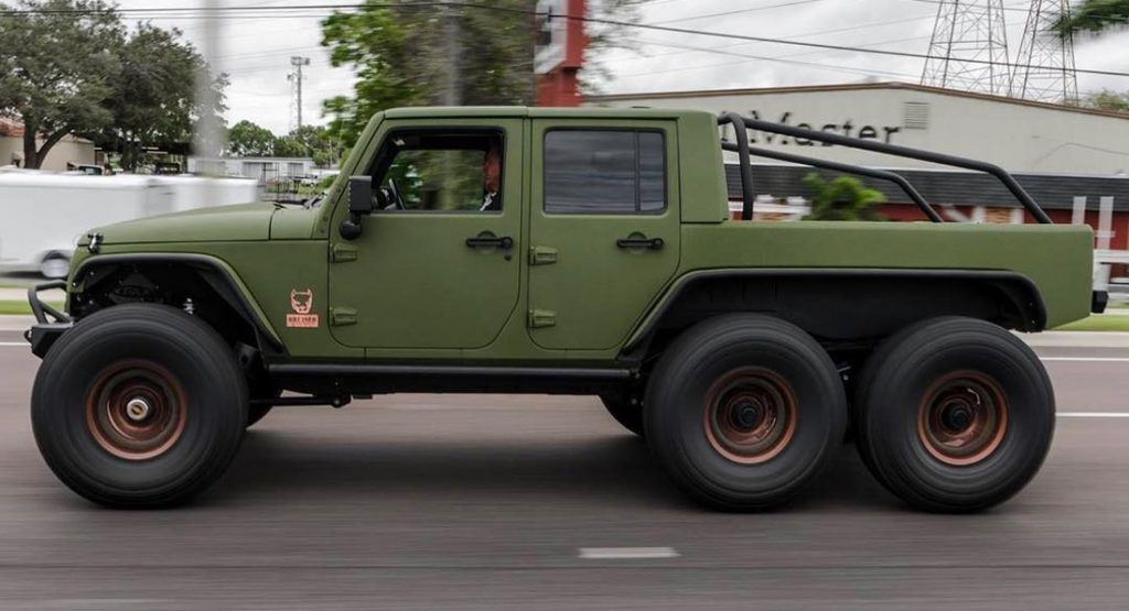 Bruiser Conversions 6 6 Is A Six Wheel Jeep Wrangler With A 450hp Ls3 V8 Jeep Jeep Wrangler Jeep Truck