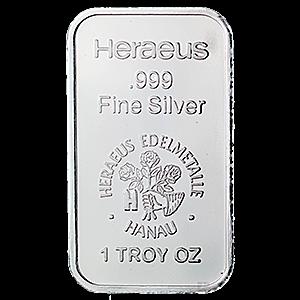 Heraeus Silver Bar 1 Oz Vat Free Silver Bars Silver Silver Investing