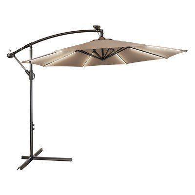 Trademark Innovations 9 Ft. Deluxe Offset Patio Umbrella With Solar Strip  Lighting   OFFST9