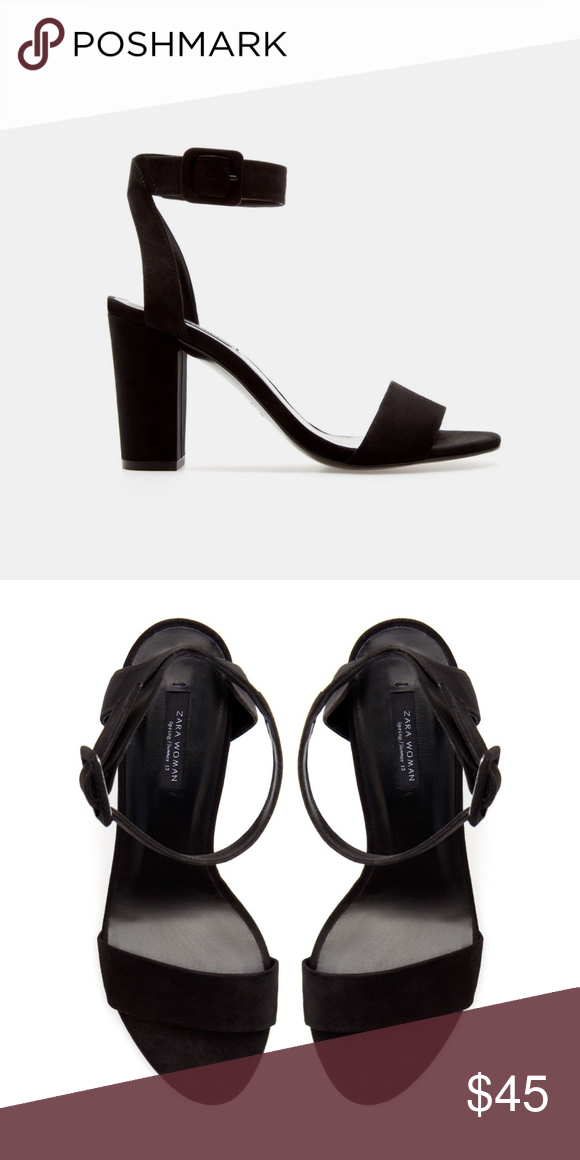 6f02dfe702d ZARA BLACK MID-HEEL SANDALS WITH ANKLE STRAP 7.5 ZARA BLACK MID-HEEL SANDALS