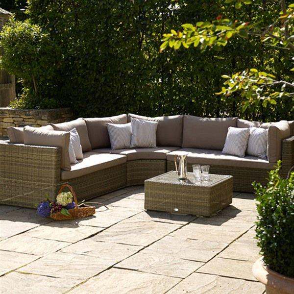 Bramblecrest Sahara Curved Combination Rattan Corner Sofa   outdoor ...