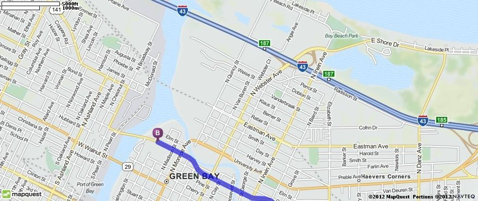Driving Directions from 1845 Whitewater Cir, Manitowoc, Wisconsin 54220 to Hyatt on Main, Green Bay in Green Bay, Wisconsin 54301 | MapQuest