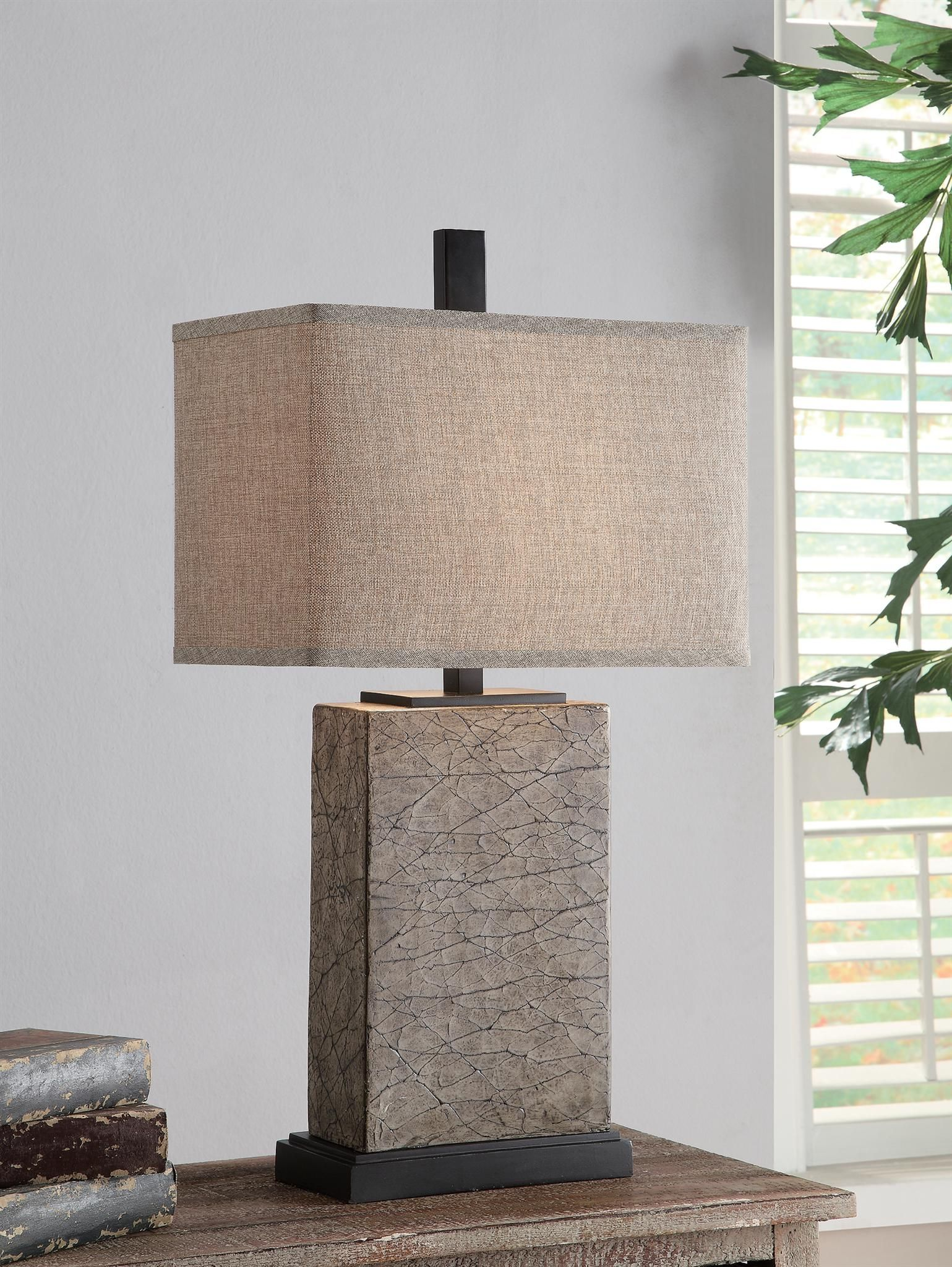 Mason Table Lamp 30 75 Ht Resin Crackled Gold Finish 9 5 16 X 9 5 16 X 11 Oatmeal Linen Shade 30 75 Ht Rectangular Lamp Table Lamp Lamp