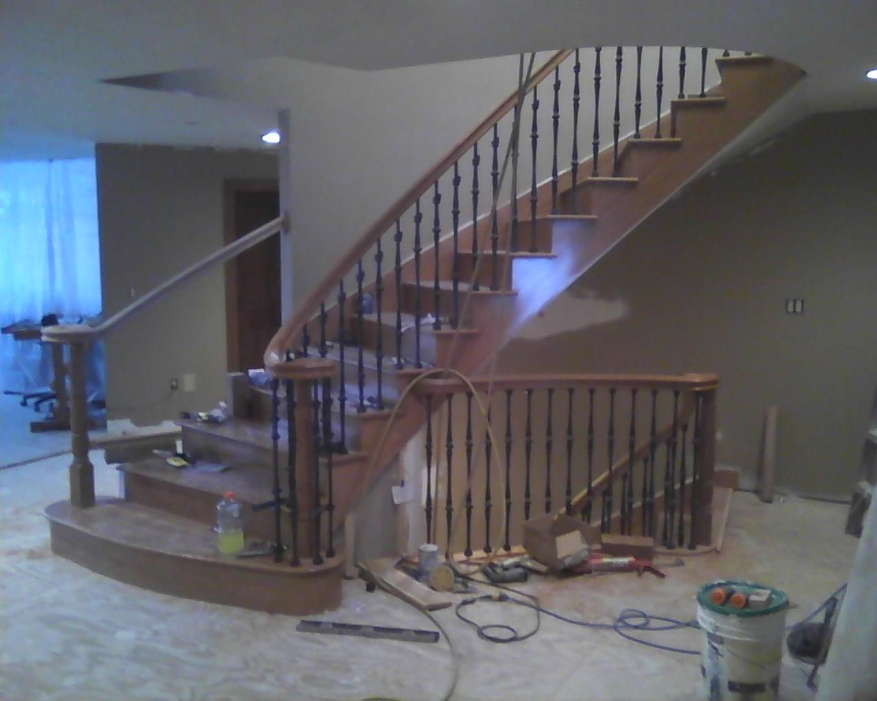 Granny Hill Moultonborough NH, Work In Progress. All North American Cherry.  We Manufacture All Stair Parts. Stair Builder / Designer