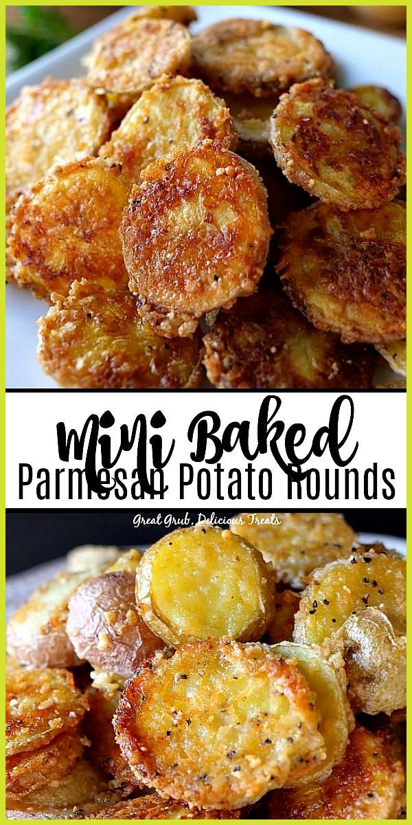 Mini Baked Parmesan Potato Rounds are thinly sliced potatoes covered in Parmesan cheese seasoned wi