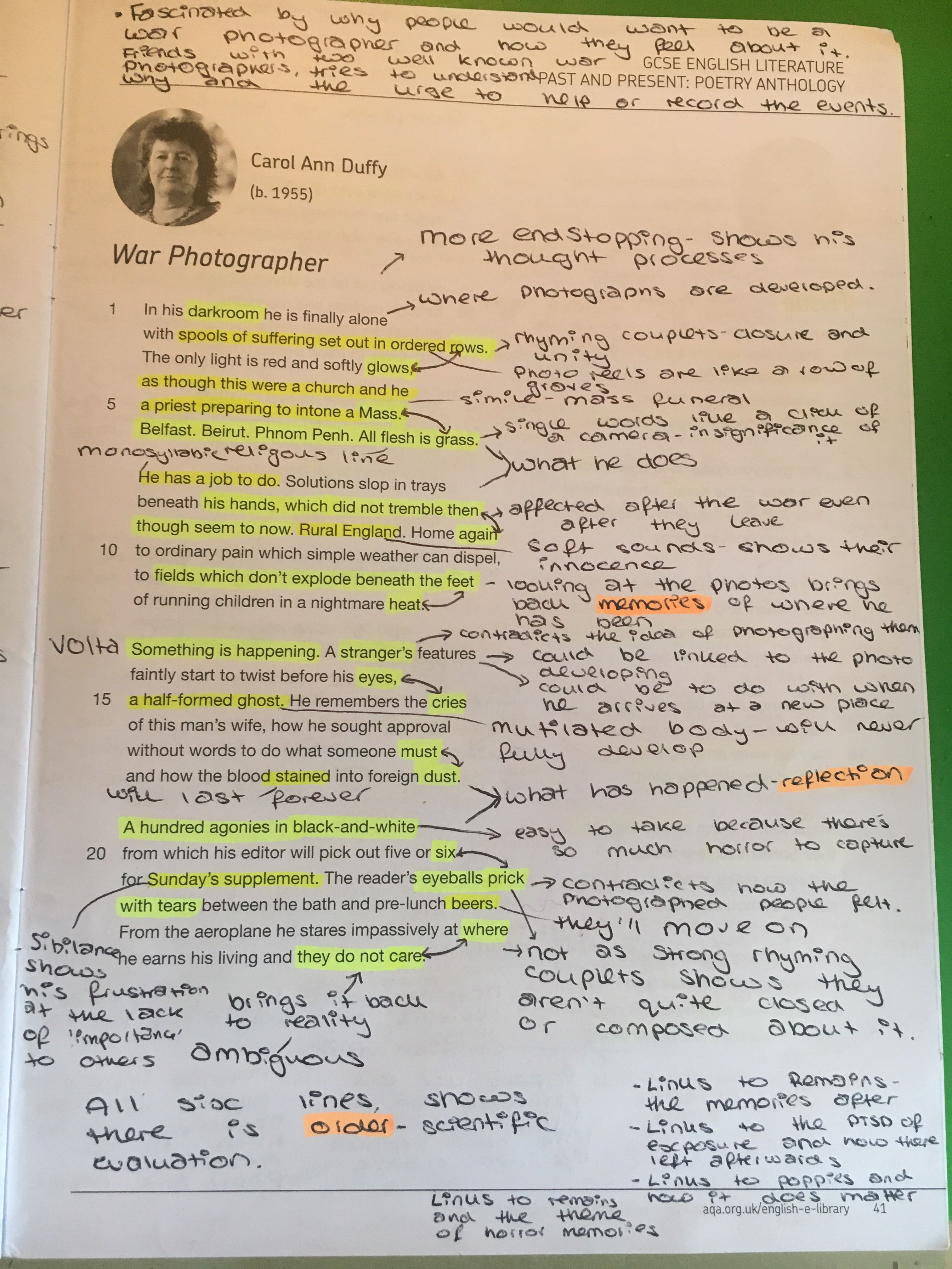 War Photographer Gcse English Literature Revision Notes Theme Of The Poem Ozymandia By Pb Shelley