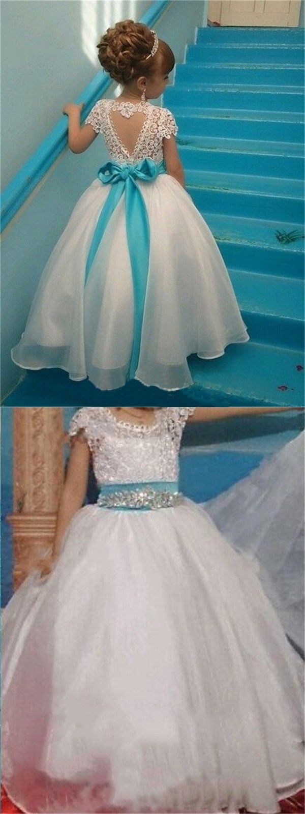 Short Sleeves Lovely Cute Lace Pretty Flower Girl Dresses with bow ...