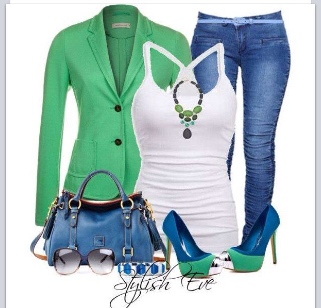 St. Patty's Day outfit, love blue and green together