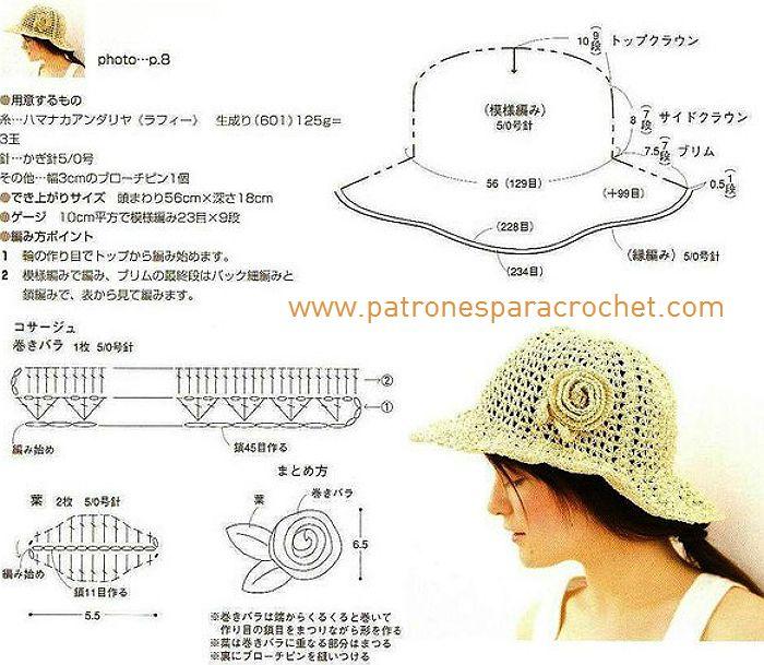 sombrero1.jpg (700×609)   gorros y sombreros   Pinterest   Patrón de ...