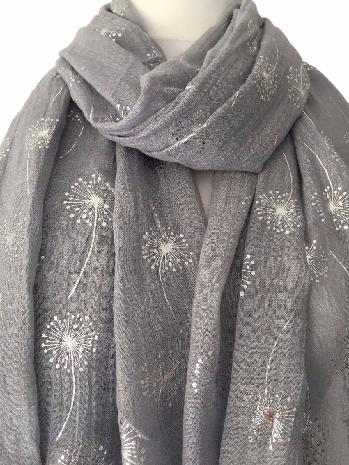Grey Floral Scarf Silver Flowers Charcoal Wrap Ladies Foil Dandelion Flower New