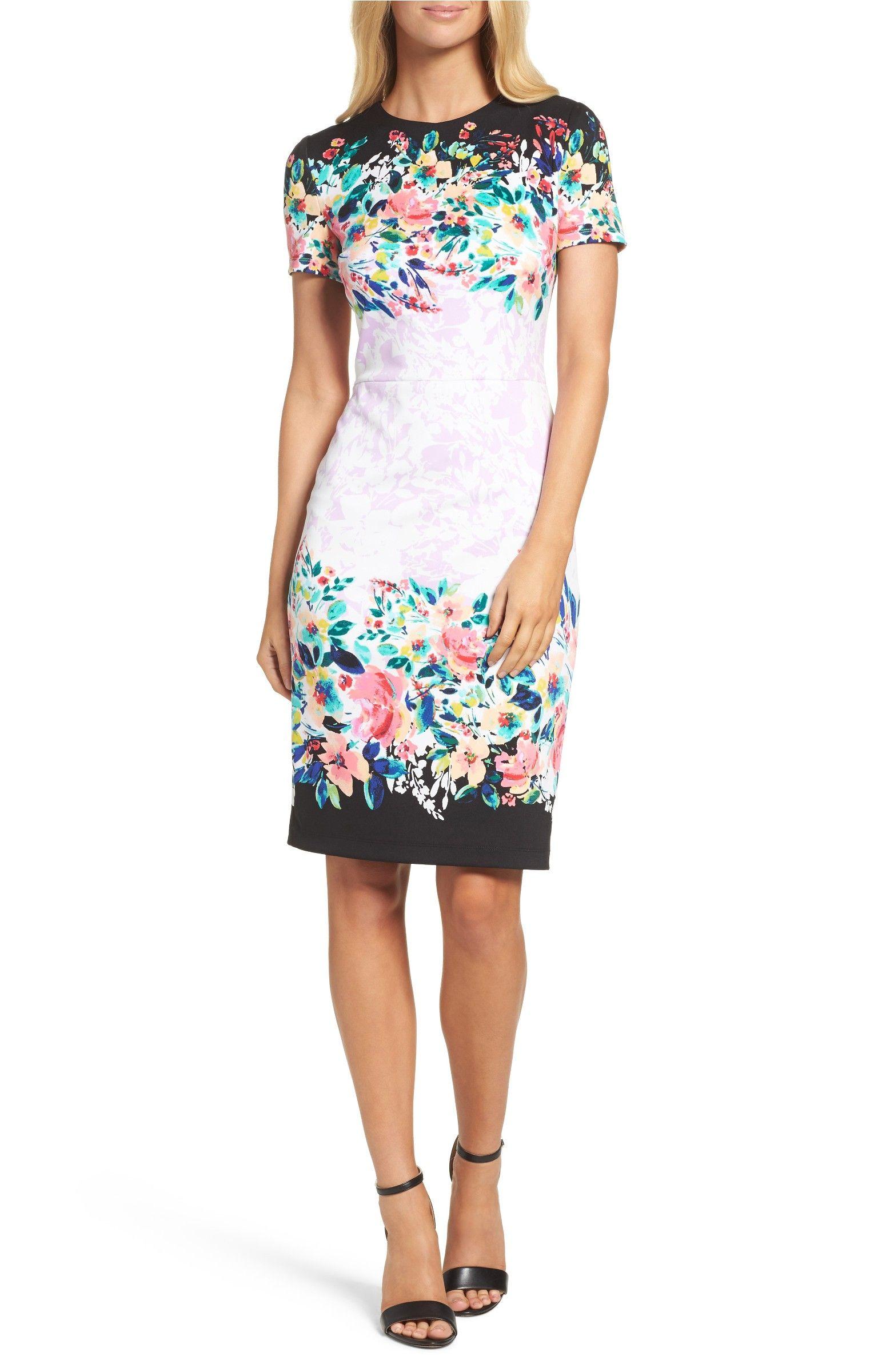 Maggy London Floral Print Scuba Dress Stripes Fashion Dress Dress Clothes For Women Scuba Dress