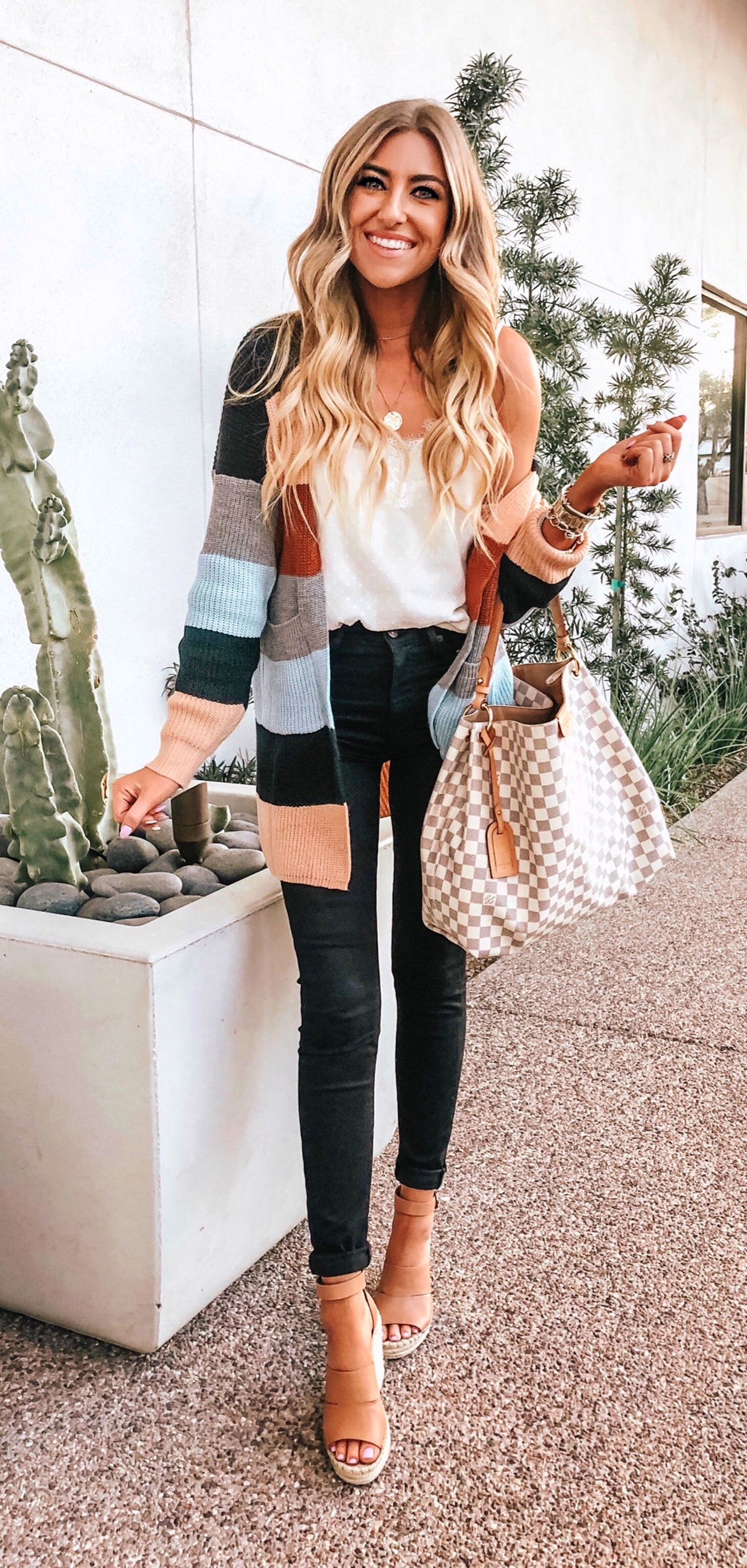 spring #outfits Striped Cardigan + White Top + Black Jeans