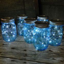 Mason Jars With Blue Fair Lights For Everywhere Mason Jar Fairy Lights Garden Party Birthday Mason Jar Lighting