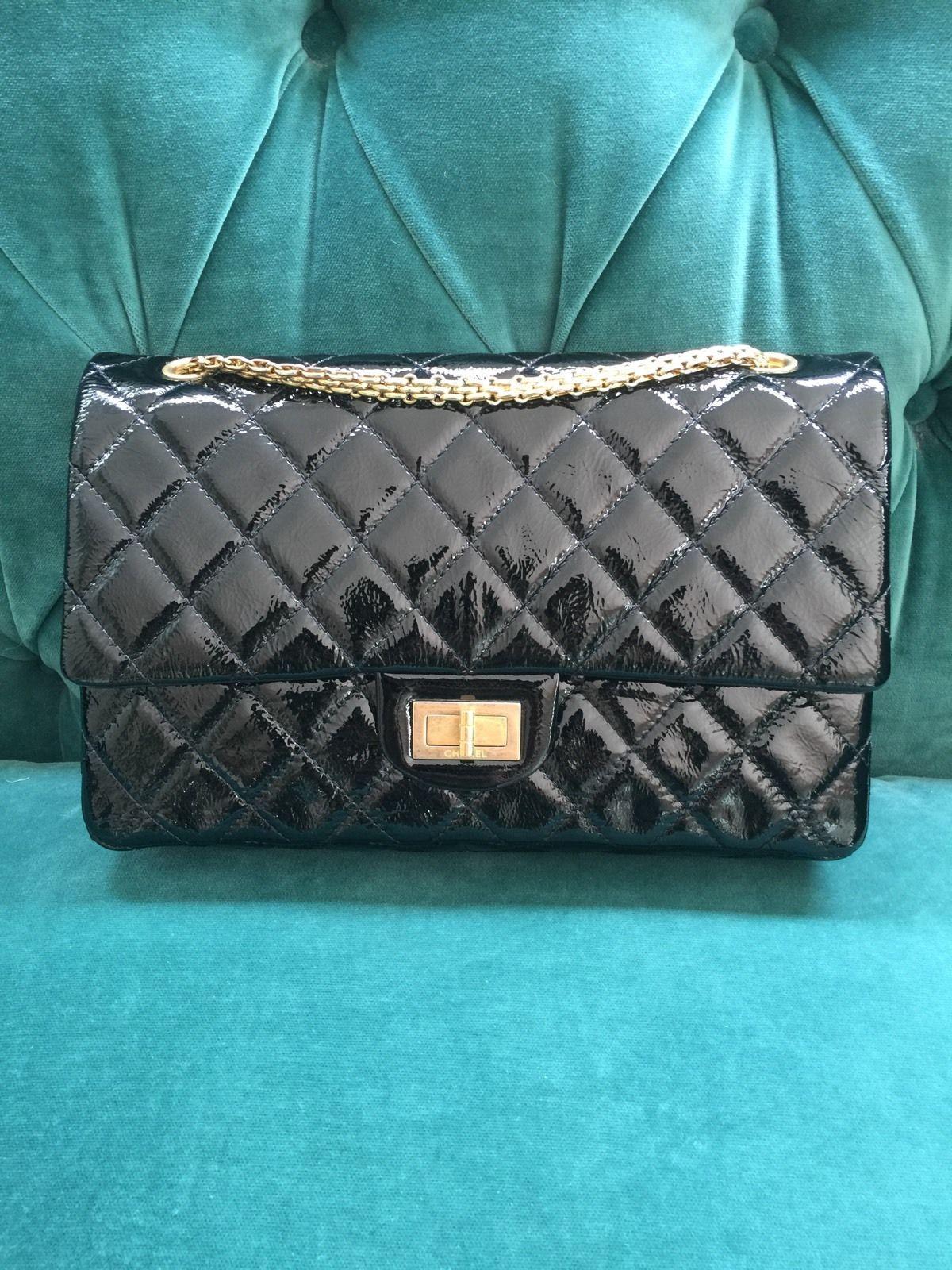 CHANEL 07 Black Patent Reissue 2.55 Double Flap Classic Bag 227