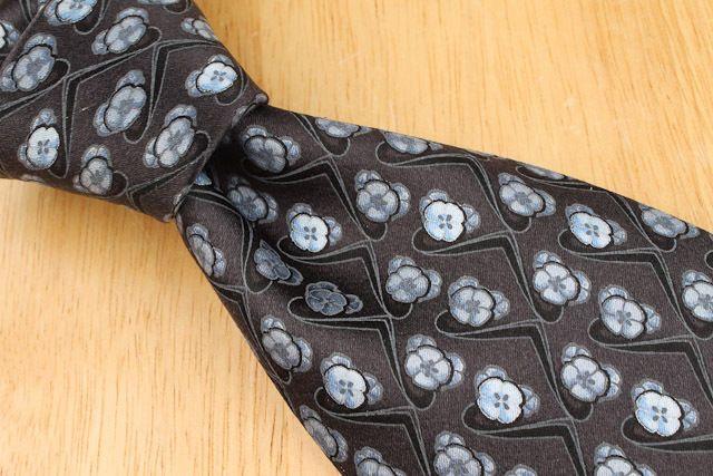 RECENT Ermengildo Zegna Black Grey Light Blue Floral mens Silk Tie #ErmengildoZegna #NeckTie