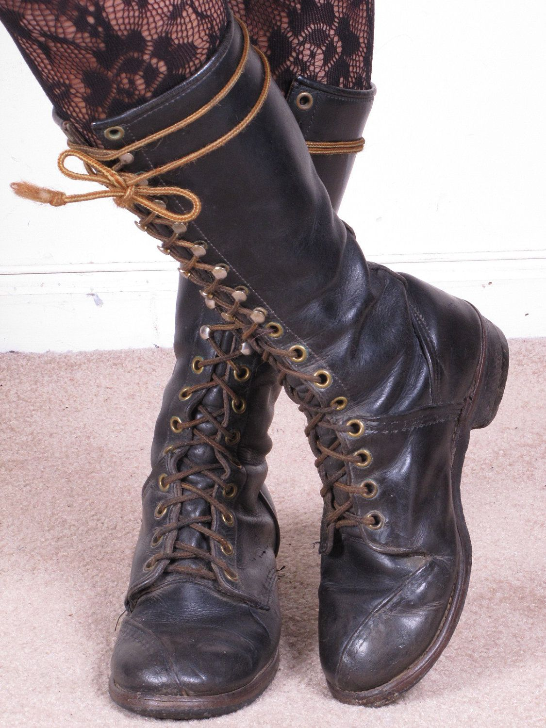 2239bd50fd vintage military tall knee high Distressed black leather lace up combat  boots. Now, that's more like it. :)