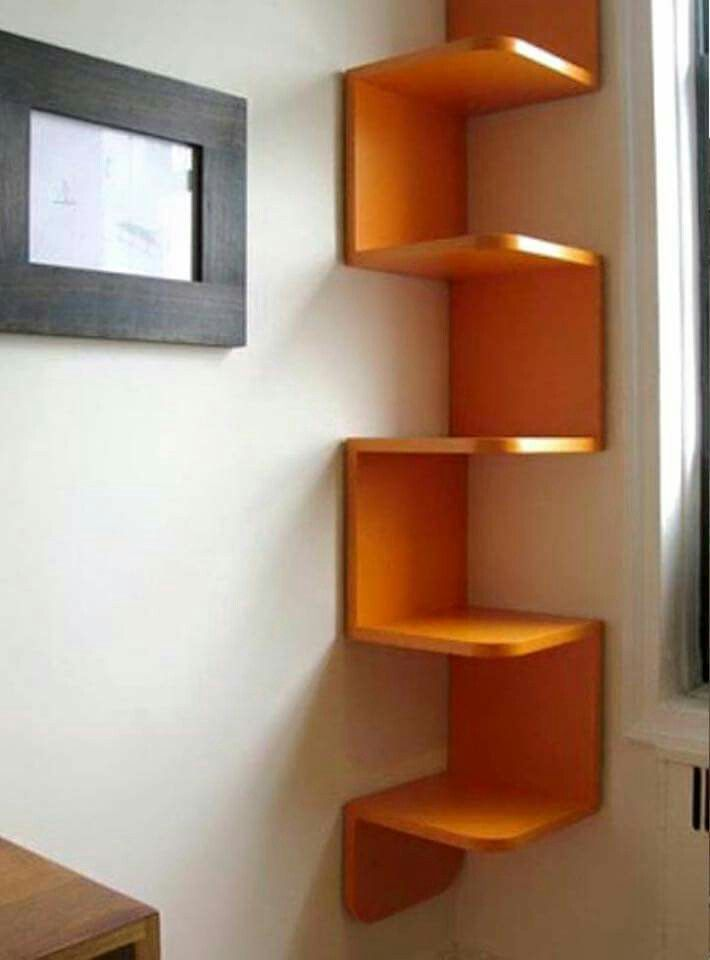 Furniture U0026 Accessories, How To Build Corner Shelves Diy Unique Vibrant  Orange Color Decorative Corner Wall Shelving Units Design Ideas: Various  Ways About ...