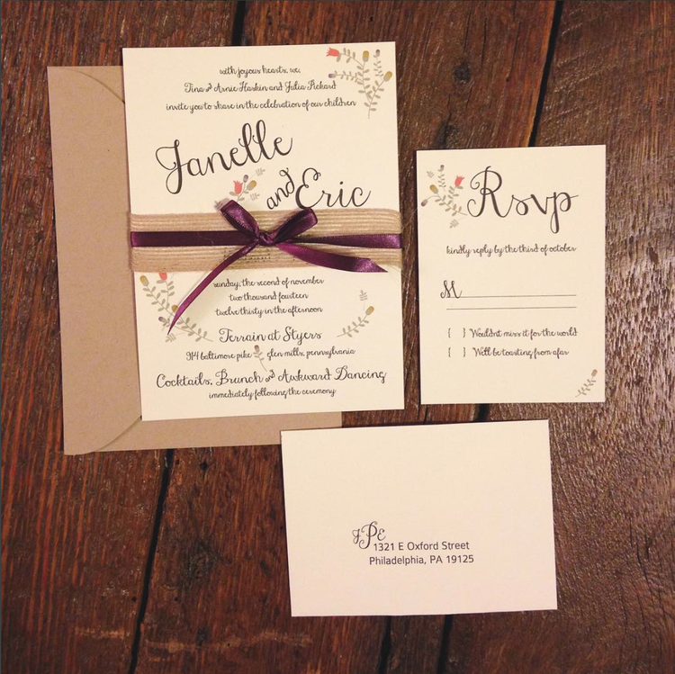 janelle + eric - wedding invitation suite #weddinginvitations #flowerinvitation #eventdetails