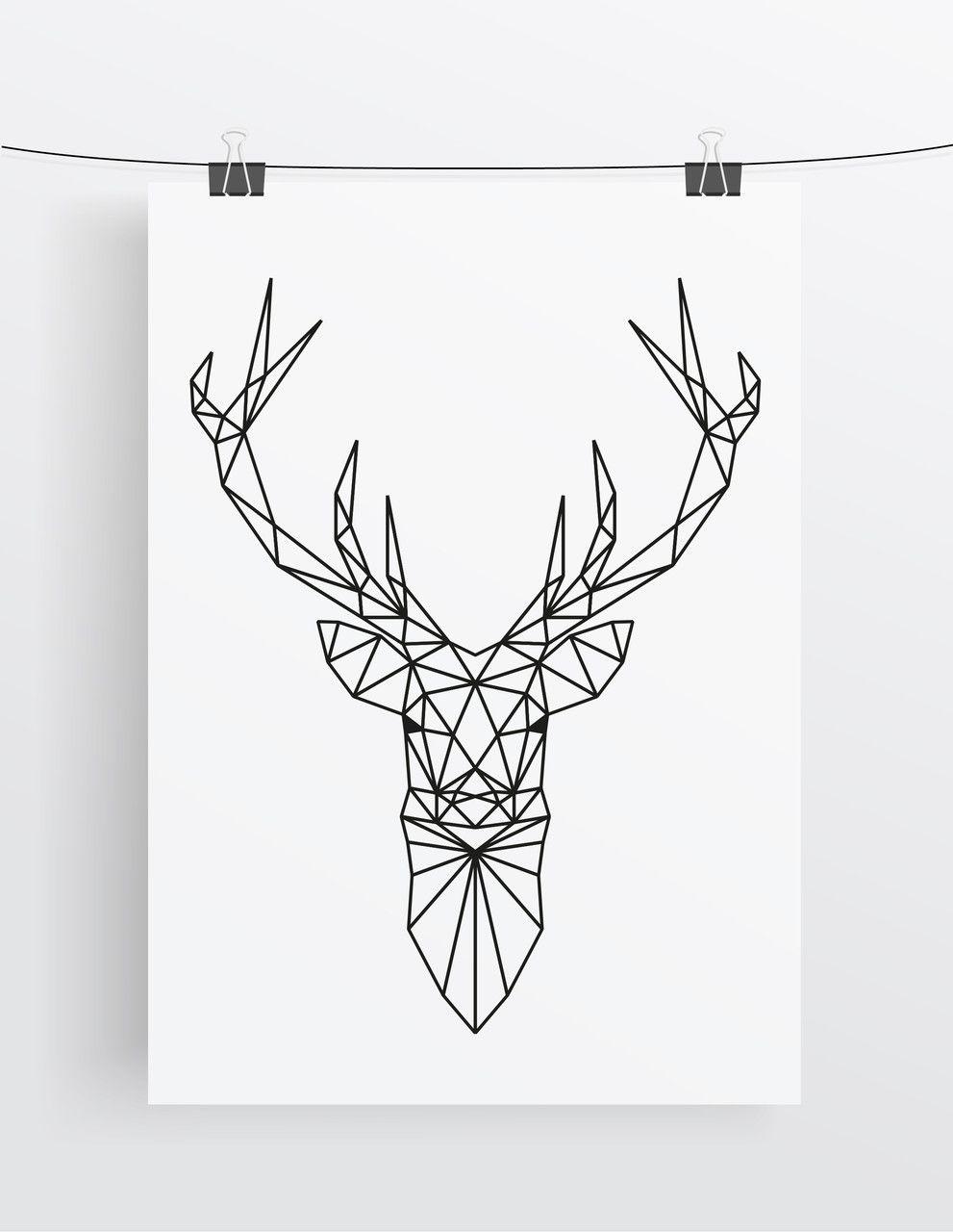 Art Print Deer Geometric Antlers Malen Pinterest