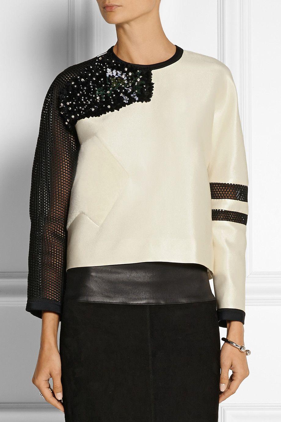 Fendi Embellished tech-satin and mesh top NET-A-PORTER.COM