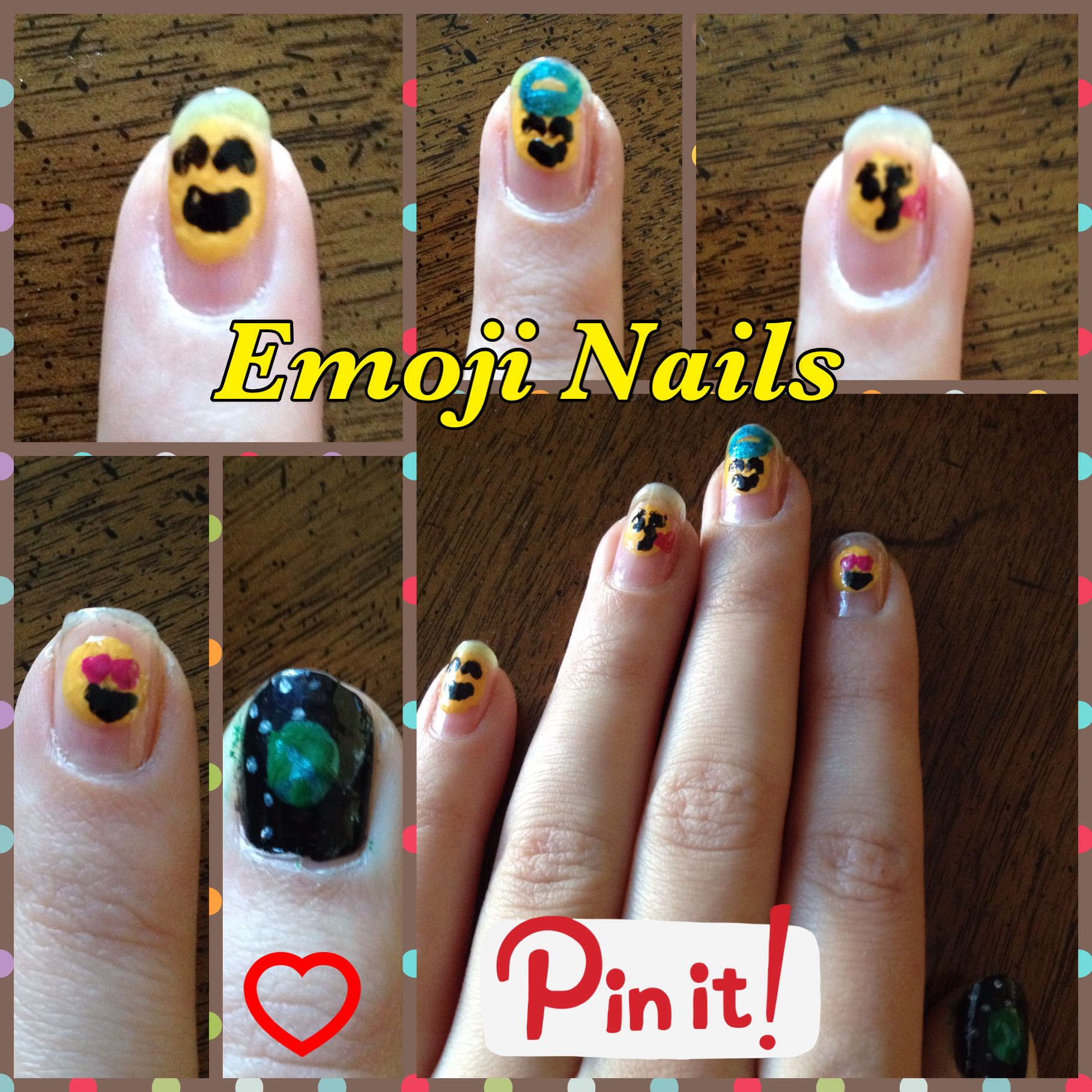Emoji nails follow pink peanut for more nail ideas nail ideas