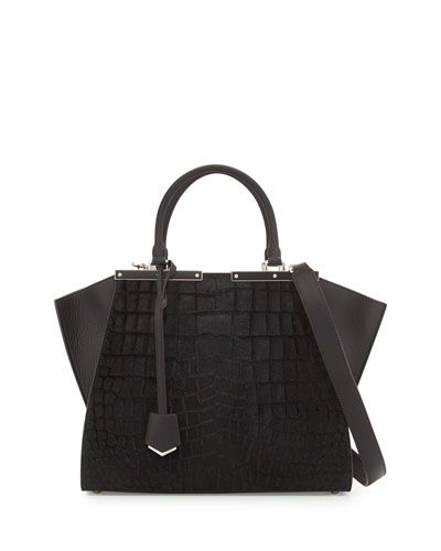ef6d6f56416 V2GXN Fendi 3 Jours Petite Croc-Embossed Calf Hair Satchel Bag ...