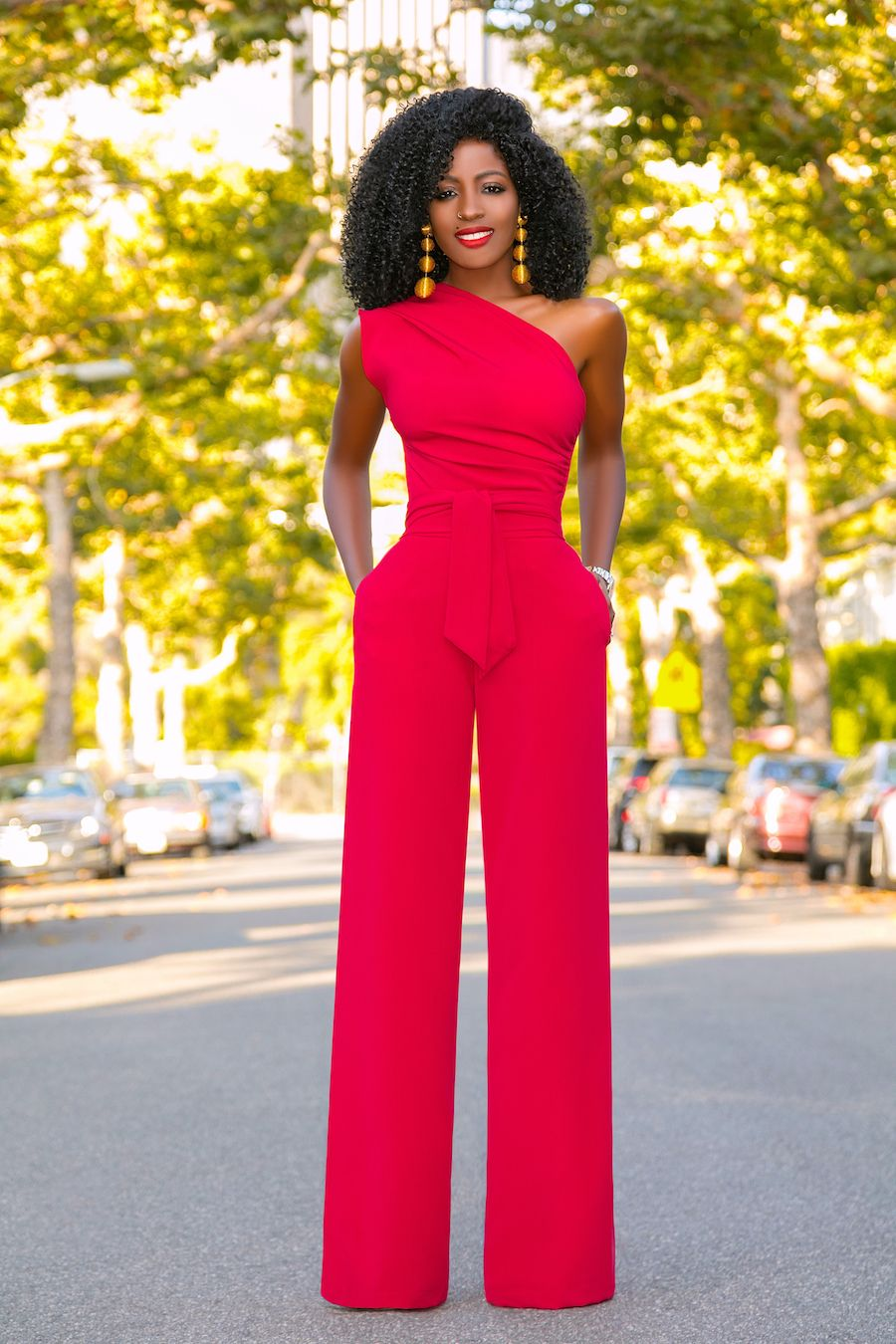 Red One Shoulder Drape Jumpsuit (Style Pantry) | Nothin ...