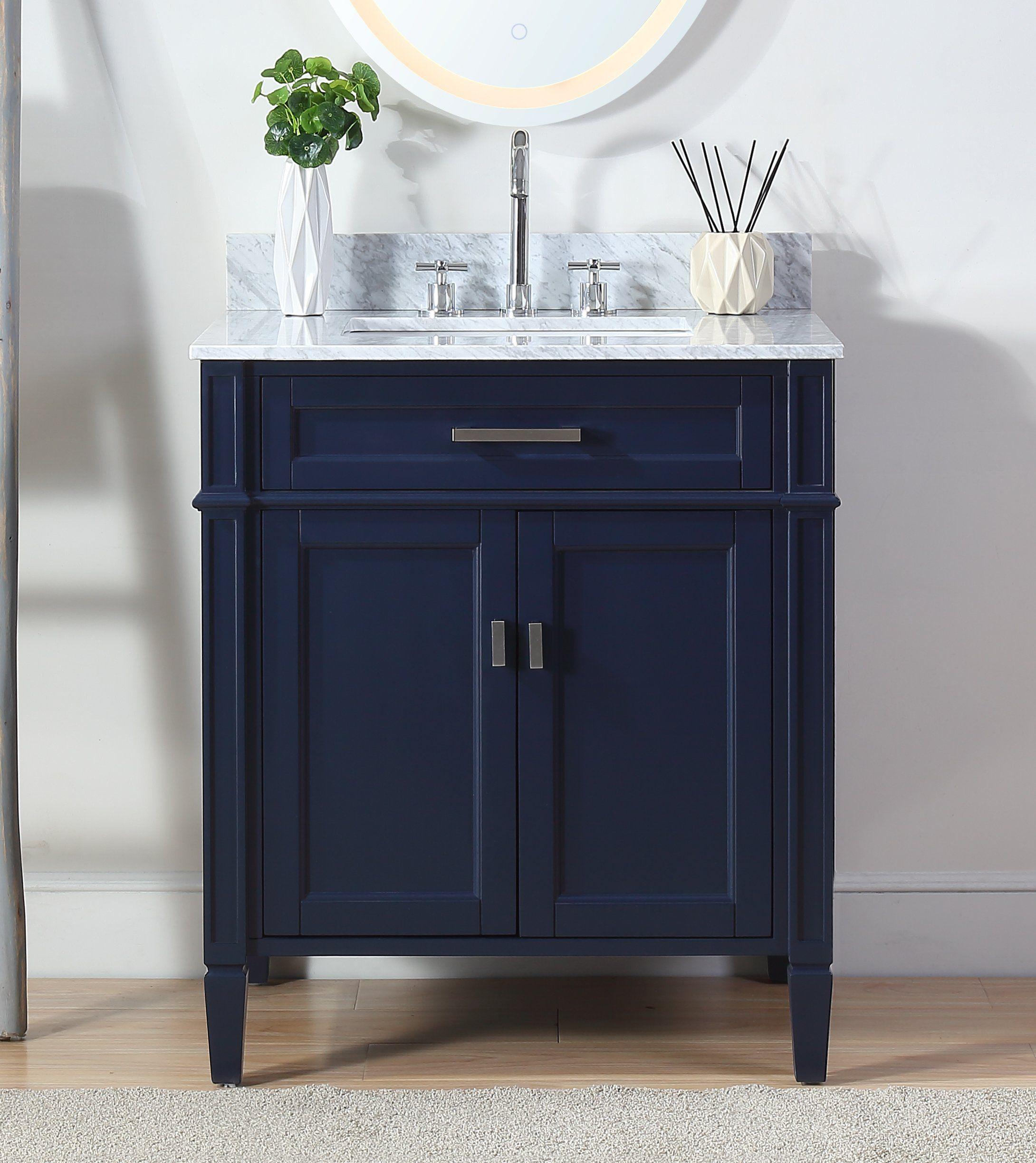 Chans Furniture Zk 1808 V30nb Tennant Durand 30 Freestanding Modern Style Bathroom Vanity In Navy Blue Modern Style Bathroom Blue Modern Bathrooms Bathroom Sink Vanity