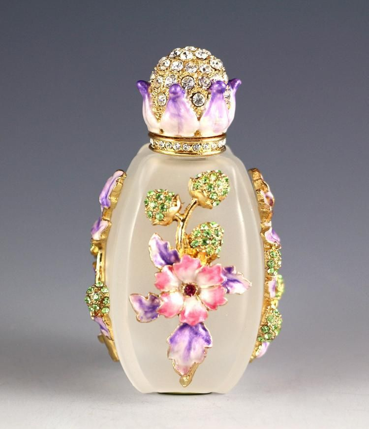 NEW FLORAL AUSTRIAN CRYSTALS GOLD PLATED DECORATIVE FROSTED GLASS PERFUME