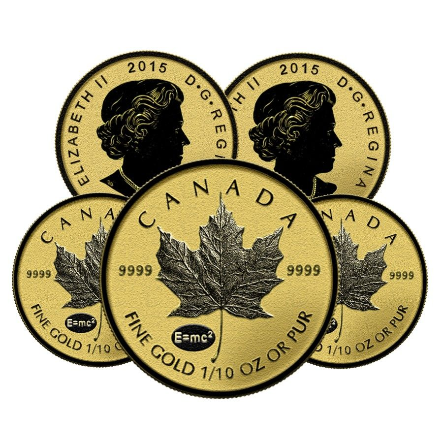 Lot Of 2 2015 1 10 Oz Gold Canadian Maple Leaf E Mc2 Privy Reverse Proof 5 Coin Sealed Gold Bullion Coins Maple Leaf Gold Coins