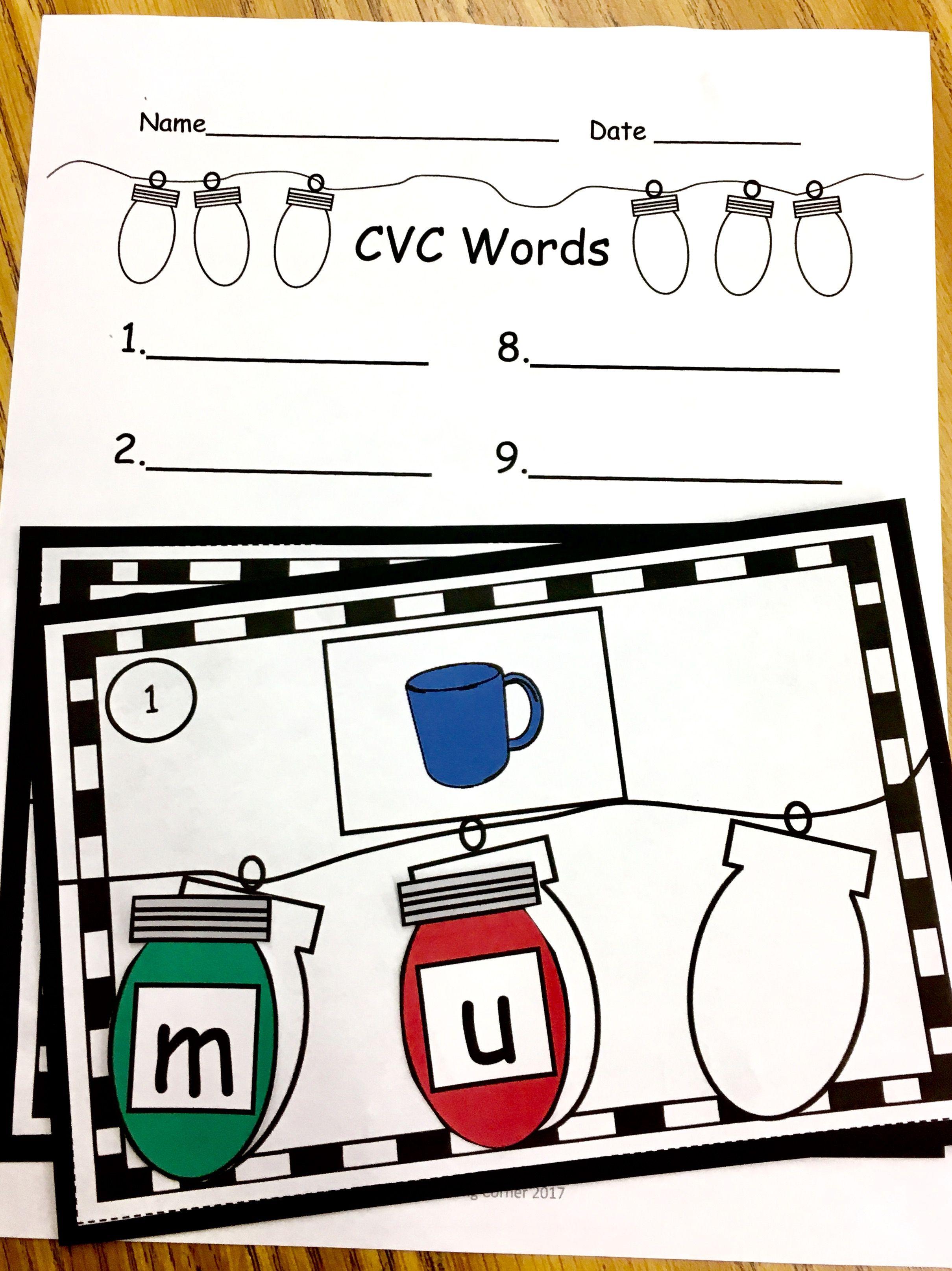 Christmas Lights Build Cvc Words December Literacy Center