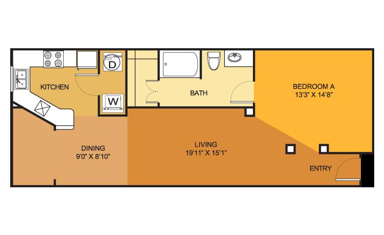 E3 floorplan at Villas on Guadalupe (Austin, Texas)