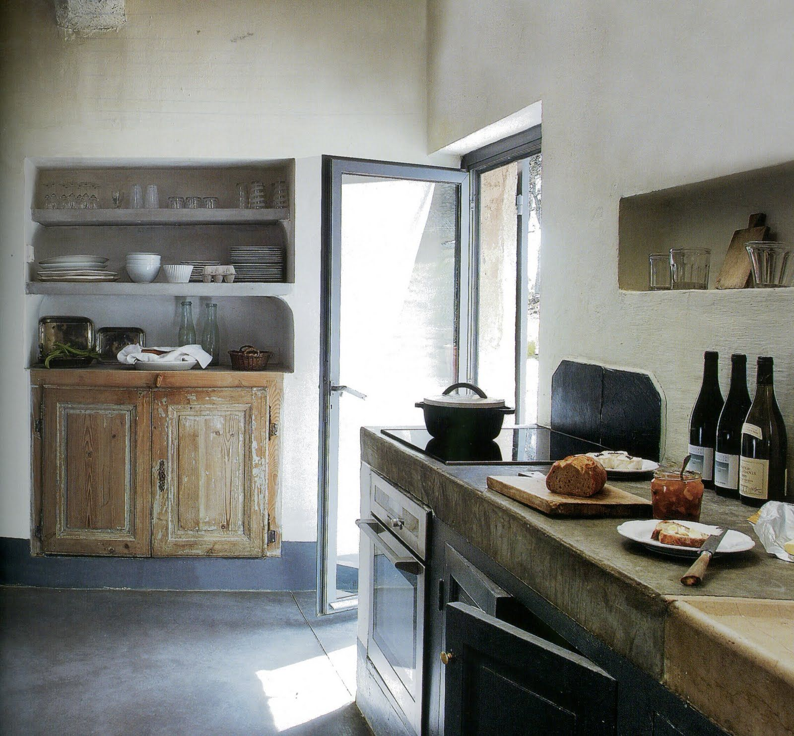 Thick cement counter built in shelving kitchen pinterest