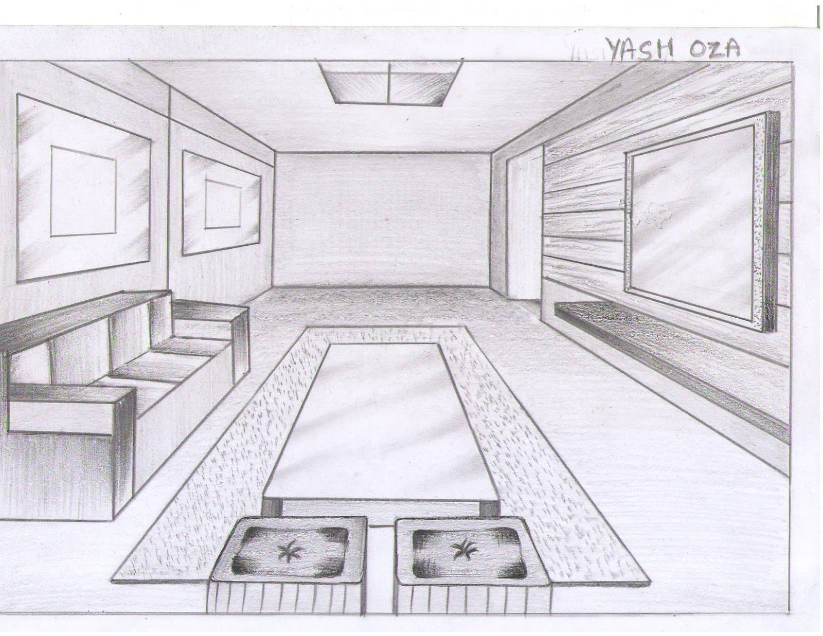 Pin by mr lambert on one point perspective room in 2019 - One point perspective drawing living room ...