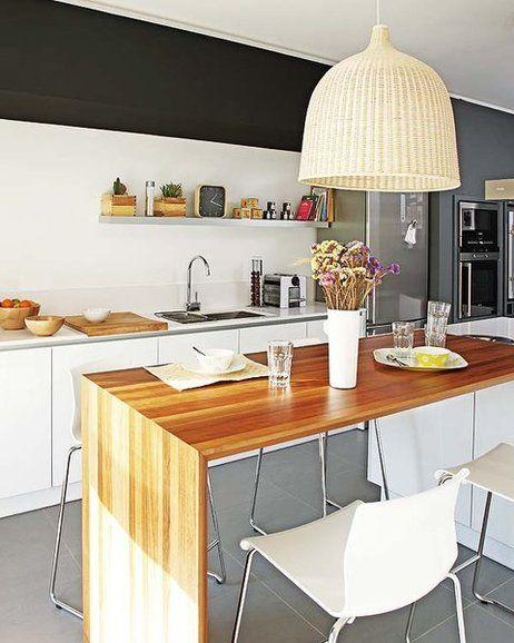 Barra de madera en la cocina cocinas pinterest for Barras de cocina comedor
