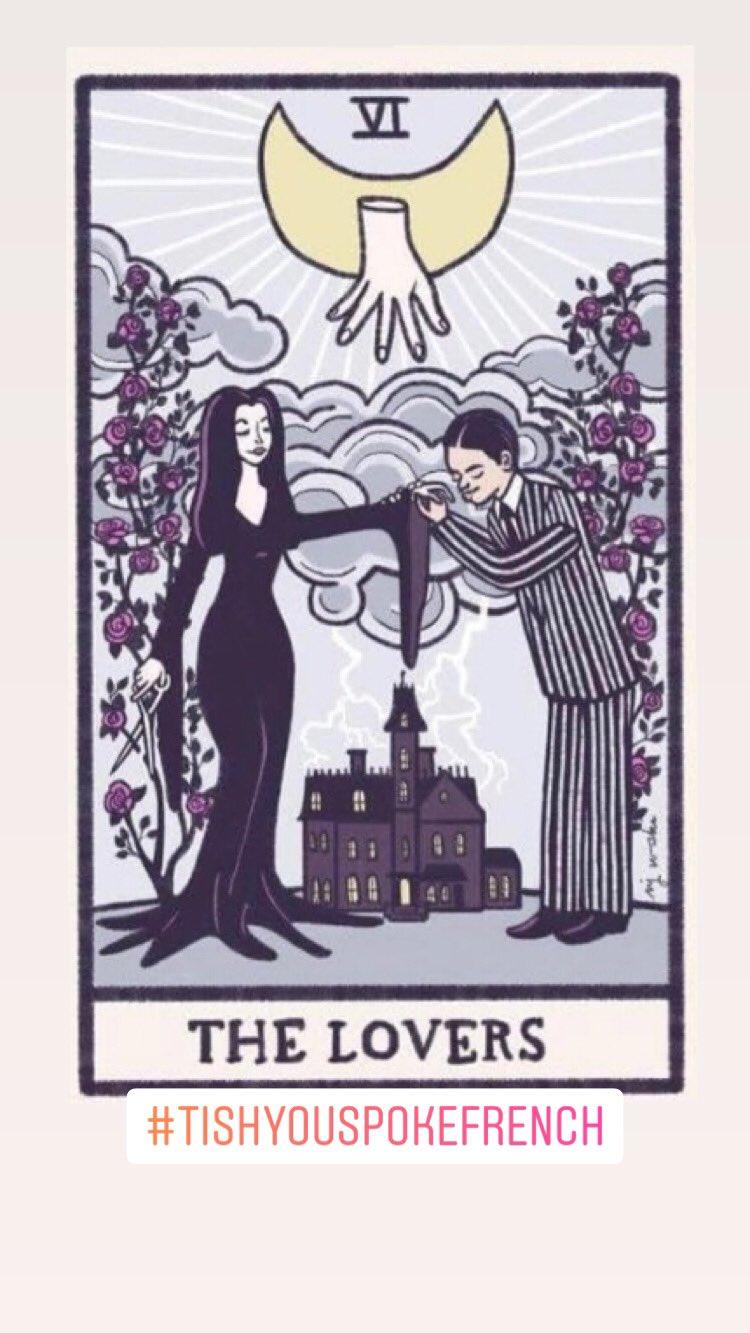 tarot cards art gomez and morticia